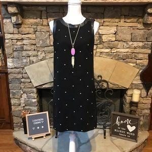 NWOT Ann Taylor Black Faux Leather Trim Dress 6